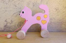Drewniany kotek do ciągania, różowy