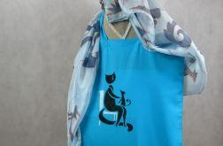 Niebieska torba z bawełny Kot i Pies malowana