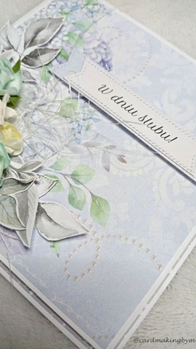 Kartka ślubna z papierowymi kwiatami - Prawy bok
