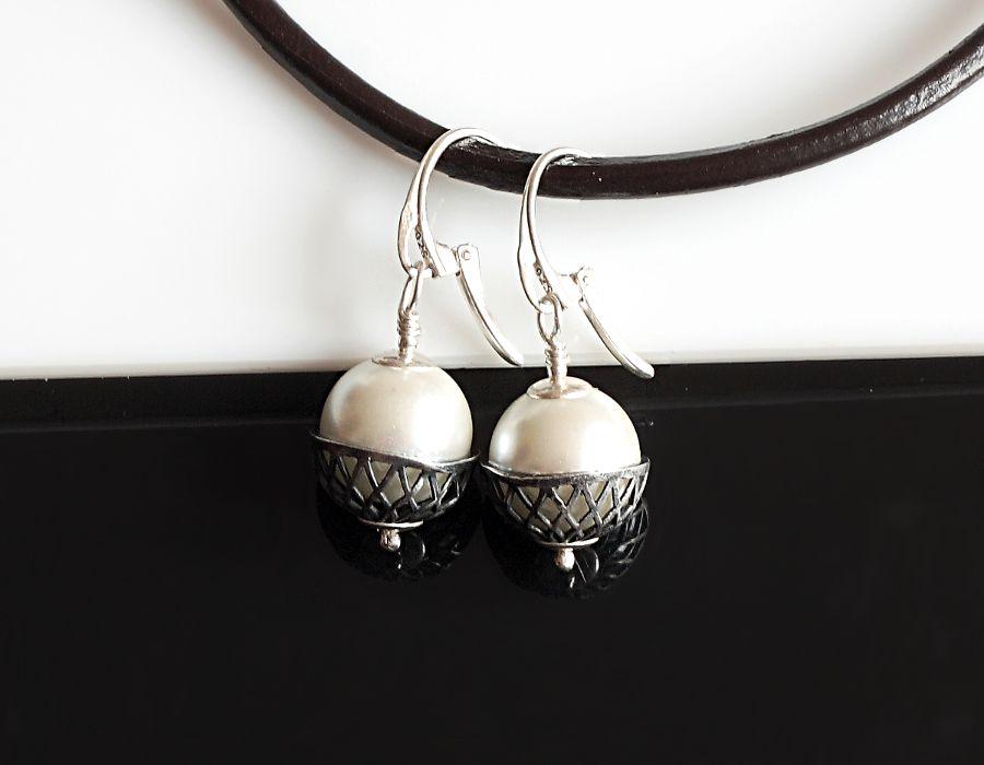 Perły w koszyczku - kolczyki - perła Seashell - kolczyki