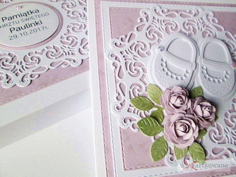 Kartka PAMIĄTKA CHRZTU z bucikami #14 /Z - Różowo-biała Pamiątka Chrztu w pudełku
