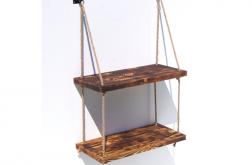 Półka podwójna na linach z drewna loft