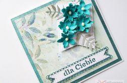 Kartka DLA CIEBIE z turkusowymi kwiatami