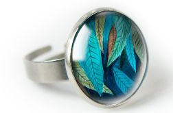 Jungle leaf pierścionek z ilustracją