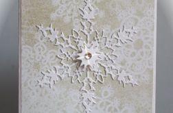 Śnieżynka kartka hand made