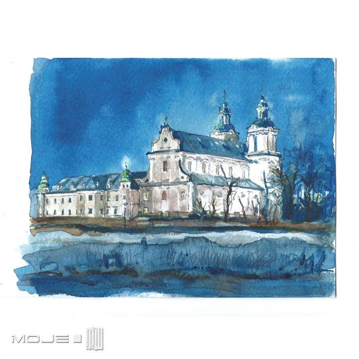 Kościół na Skałce - Kraków w akwareli