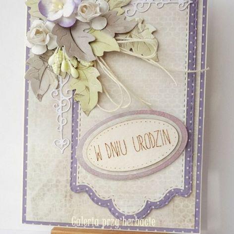 Kartka urodzinowa fioletowa A4