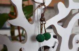 Kolczyki handmade kryształki zielone