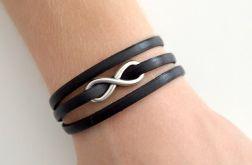 Infinity potrójna bransoletka czarna 5mm