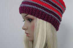 Pasiasta czapka - szary - czerwony - bordo