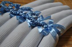 Komplet pięciu wieszaków pachnących lawendą - niebieskie paski