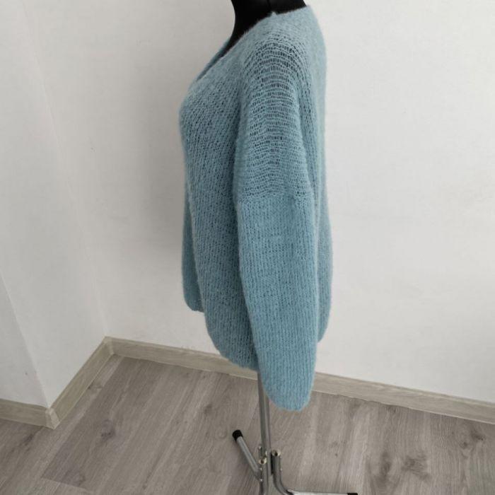 Lekki sweter oversize (alpaka z jedwabiem) - sweter mgiełka