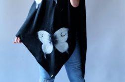 Ponczo filcowane wełną motyle