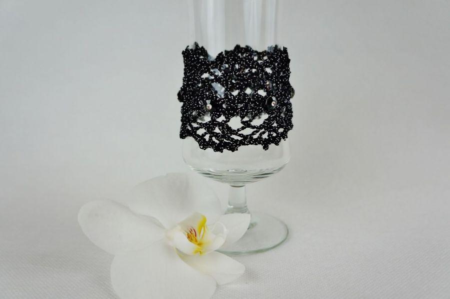 Bransoletka szydełkowa czarno-srebrna 5 - Bransoletka ręcznie robiona