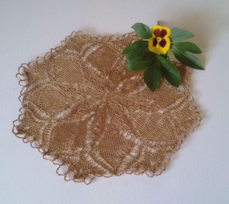 Serwetka na drutach 30 cm stare złoto - Serwetka koronkowa na drutach