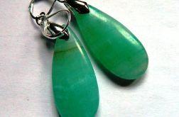 Awenturyn zielony, kolczyki łezki, srebro