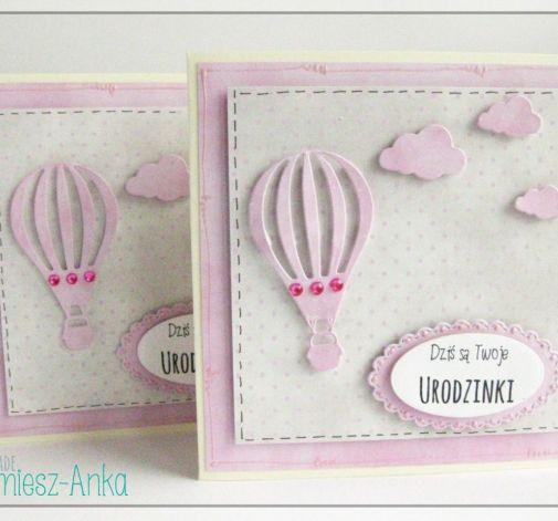 Kartka na urodziny, roczek z balonem 2