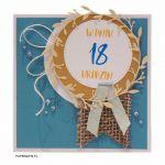 Niebieska kartka na 18 urodziny ręcznie robiona - Niebieska kartka na osiemnastkę