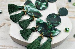 Oryginalne kolczyki-potrójne chwosty -zielone