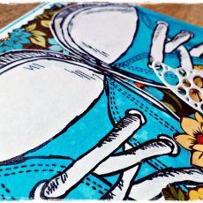 Niebieskie trampki - kartka urodzinowa
