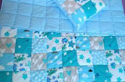 Komplet narzuta z poduszką niebieska