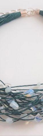 Lniany naszyjnik - Opal