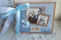 Album Vintage kraft niebieski chrzest roczek
