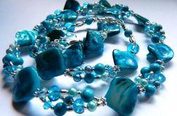 Niebieski komplet biżuterii, 3 elementy