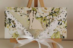 Kartka ślubna kopertówka kopertowa floral XI para