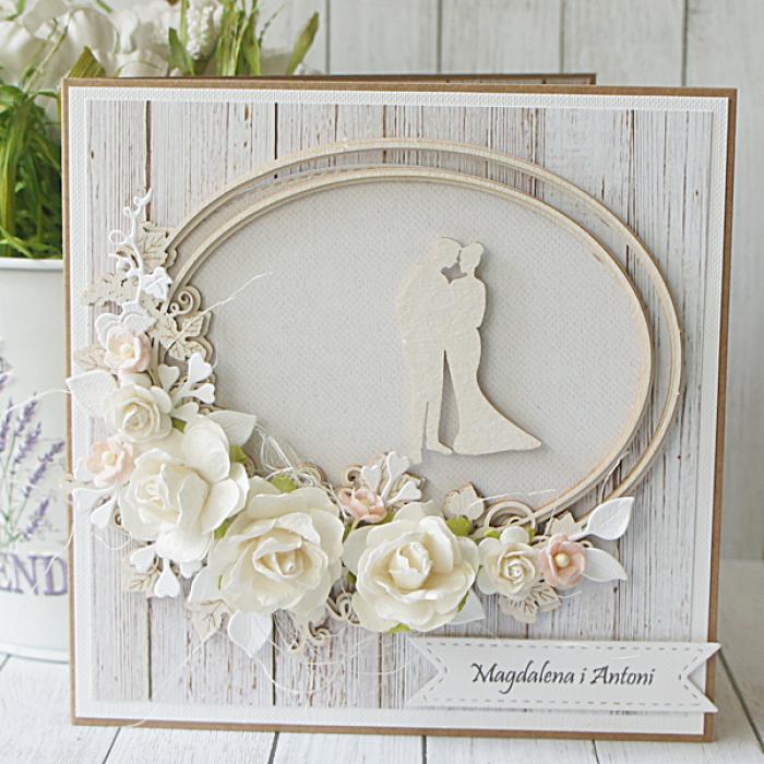 Kartka Ślubna rustykalna z dużym bukietem  - z bukietem2