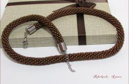 Koralikowy naszyjnik sznur nośnik brąz