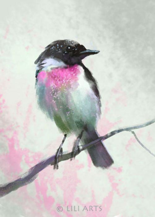 Obraz - Dotyk wiosny - Ptak, pastelowy - płótno