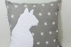 Poduszka z kotem i ogonem 3D szare gwiazdy