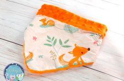 Apaszka, chustka, bandana - bawełna i Minky - pomarańczowa lisek