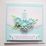 Kartka PAMIĄTKA CHRZTU ze świecą #15 - Biało-niebieska kartka na Chrzest Święty ze świecą