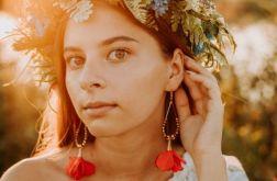 Tiulowe klipsy kolczyki kwiaty czerwone złote