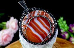 Drzewko Szczęścia wisior z agatem pomarańcz