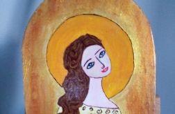 Anioł z dwoma gołąbkami - deska malowana