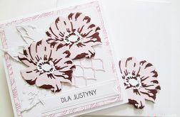 Kartka UNIWERSALNA - różowo-burgundowe kwiaty