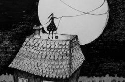 """Rysunek piórkiem """"Dom"""" artystki A.Laube"""