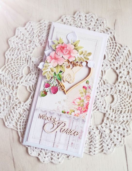 Kartka ślubna DL Raspberry Garden GOTOWA