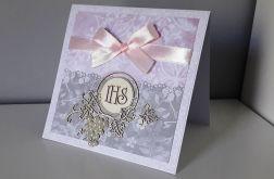 Kartka Komunia Święta IHS różowa