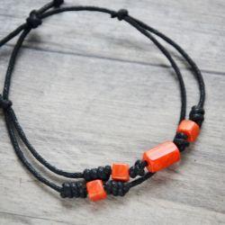 Bransoletka czarna z pomarańczem