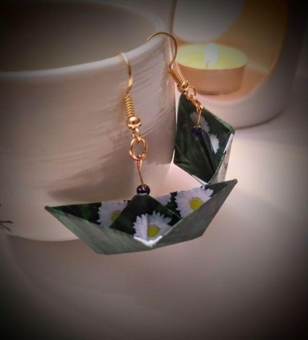 Kolczyki origami łódki łąka