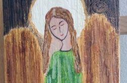 Anioł w zielonej sukience- obraz na desce