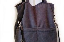 Torba shopper szary z kieszonkami na wsuwanie