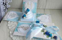 Exploding box ślub z tortem błękitny GOTOWY