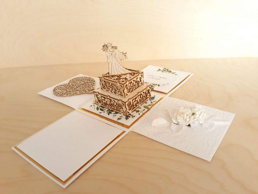 Kartka na ślub Exploding box ślubny #0006 - Kartka na ślub , kartka ślubna personalizowana