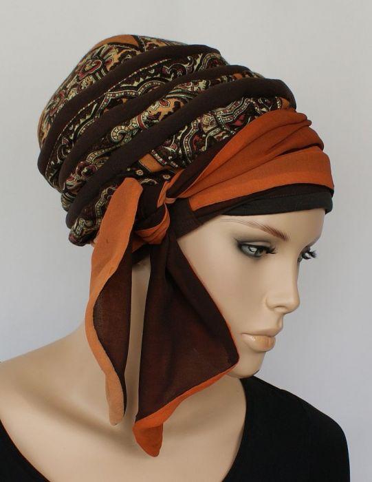 lekki turban TURECKI - wiązanie z boku głowy