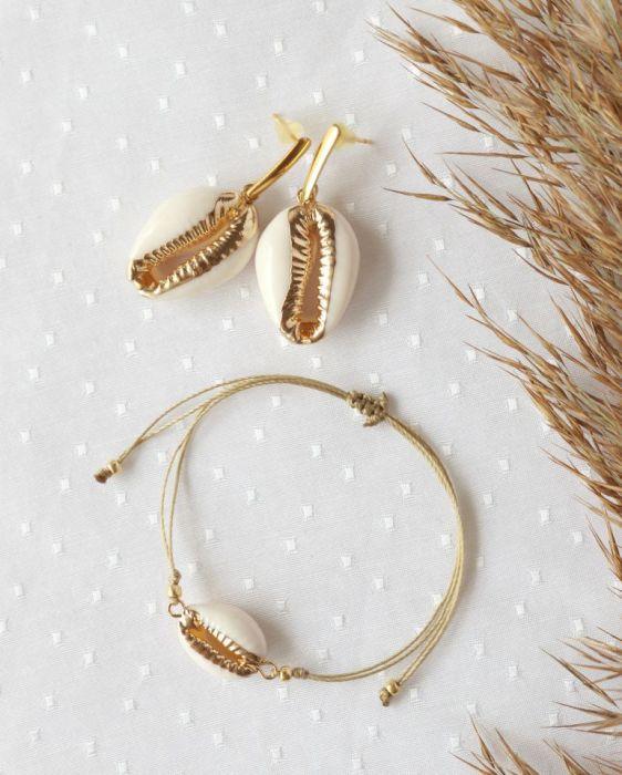 Komplet bransoletka kolczyki pozłacane muszle - Komplet kolczyki i bransoletka z muszli kauri